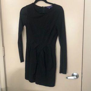 Mesh long sleeve black dress
